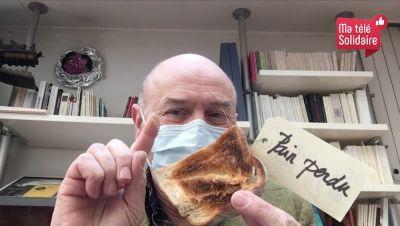 Jacques Bonnaffé, masqué et son pain perdu