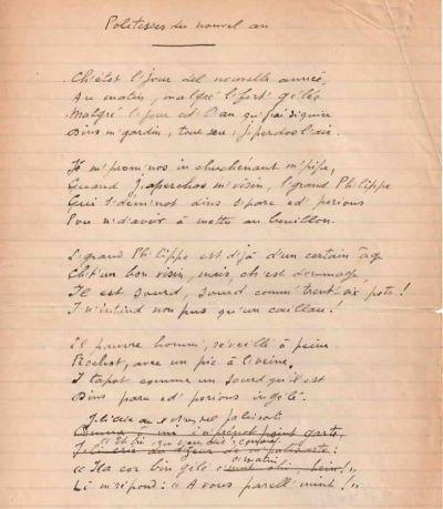 Manuscrit de Jules Mousseron: Politesses du nouvel an